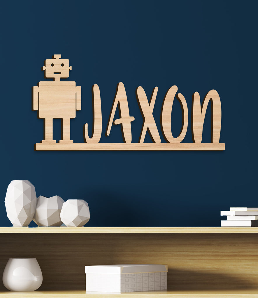 Name Sign, Robot Kids Room Sign, Boys Room Decor, Personalized Wood Sign, Wooden Name Robot Theme Kids Name Sign Gift