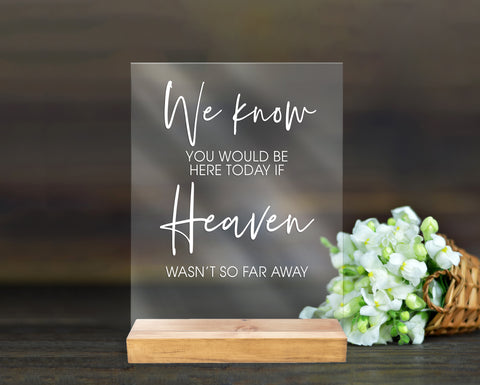 In Memory Wedding Sign Clear or Frosted Acrylic Sign for Wedding, Remembrance Sign Clear Acrylic Wedding Sign & Stand