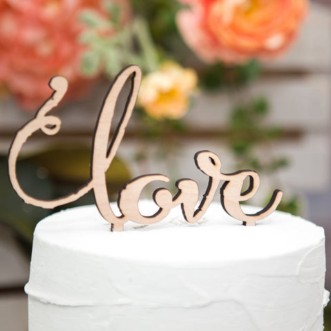 "Wedding Cake Topper Rustic Wooden ""love"""