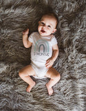 Rainbow Monthly Baby Outfits // SET of 12 Newborn to One Year Bodysuits, Milestone Boho Baby Outfit Age Shirt, Baby Shower Gift Announcement