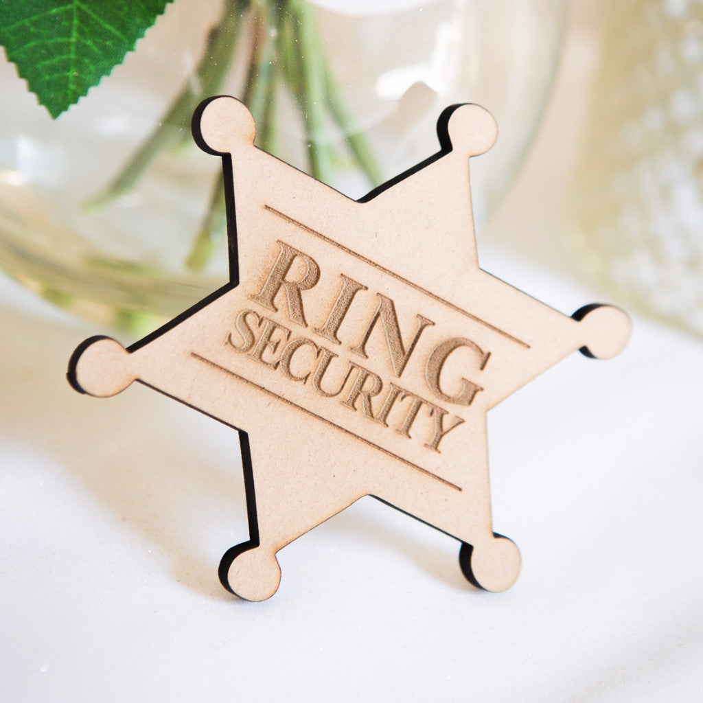 """Ring Security"" Wooden Ring Bearer Badge - Wedding Decor Gifts"