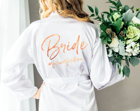 Wedding Robe with Hashtag for Bride and Bridesmaids - Wedding Decor Gifts
