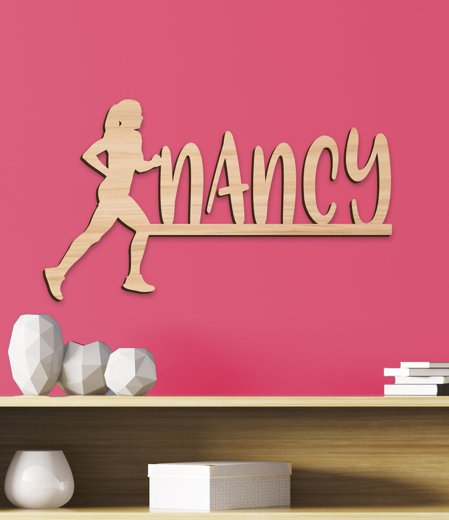 Name Sign, Runner Girl's Room Sign, Running Sign Girls Gift Decor, Personalized Sign, Wooden Name Track Kids Name Sign Gift