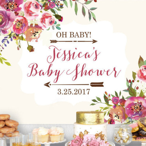 Personalized Baby Shower Backdrop Sign