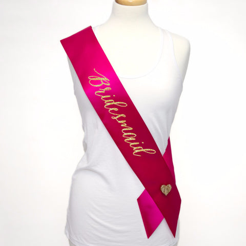 Bridesmaid Sash for Wedding Bridal Party or Bridal Shower - Wedding Decor Gifts