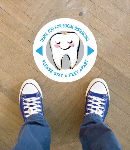 6 Feet Apart Sticker Floor Decal for Dentist Office, Kids Dental Office 6 Feet Sticker SET OF 12 Pediatric Dentist