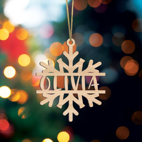 Christmas Ornament Personalized with Name, Snowflake Ornament, Wooden Holiday Decor, Name Tag, Stocking Tag or Ornament