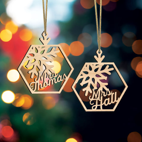 Christmas Ornament Personalized with Teacher Name or Family Names, Snowflake Ornament Holiday Name Tag or Stocking Tags