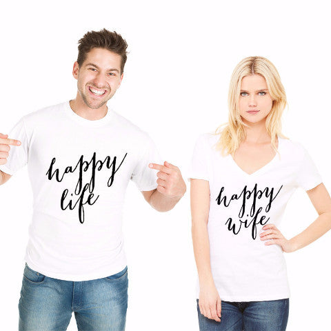 """Happy Wife, Happy Life"" Shirt Set Gift for Couples - Wedding Decor Gifts"
