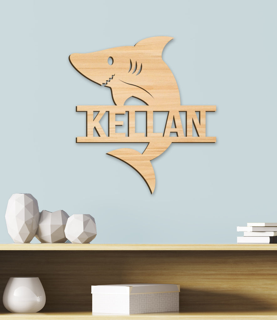 Name Sign, Shark Room Sign, Boys Decor, Personalized Kids Wood Sign, Wooden Name Sign, Sea Beach Ocean Kids Name Sign Gift