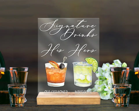 Signature Drink Sign for Wedding or Party Bar Menu Sign, Wedding Sign, Bar Sign His Hers Drinks Custom Drinks Sign Clear