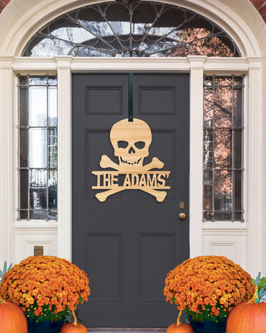 Halloween Door Sign, Wall Sign, Family Name Sign for Halloween, Skull Crossbones Door Hanger, Personalized Sign for Halloween