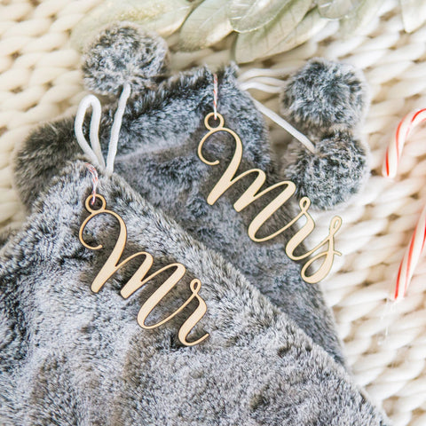 Mr and Mrs Christmas Stocking Tags - Wedding Decor Gifts