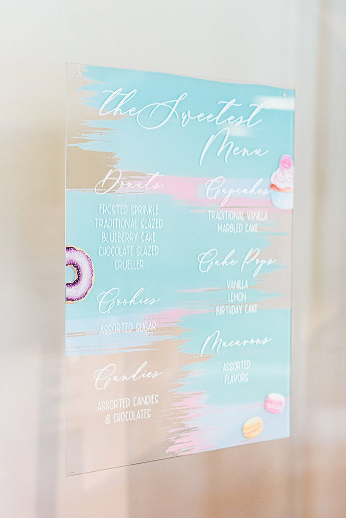Colorful Acrylic Wedding Menu Sign - Wedding Decor Gifts