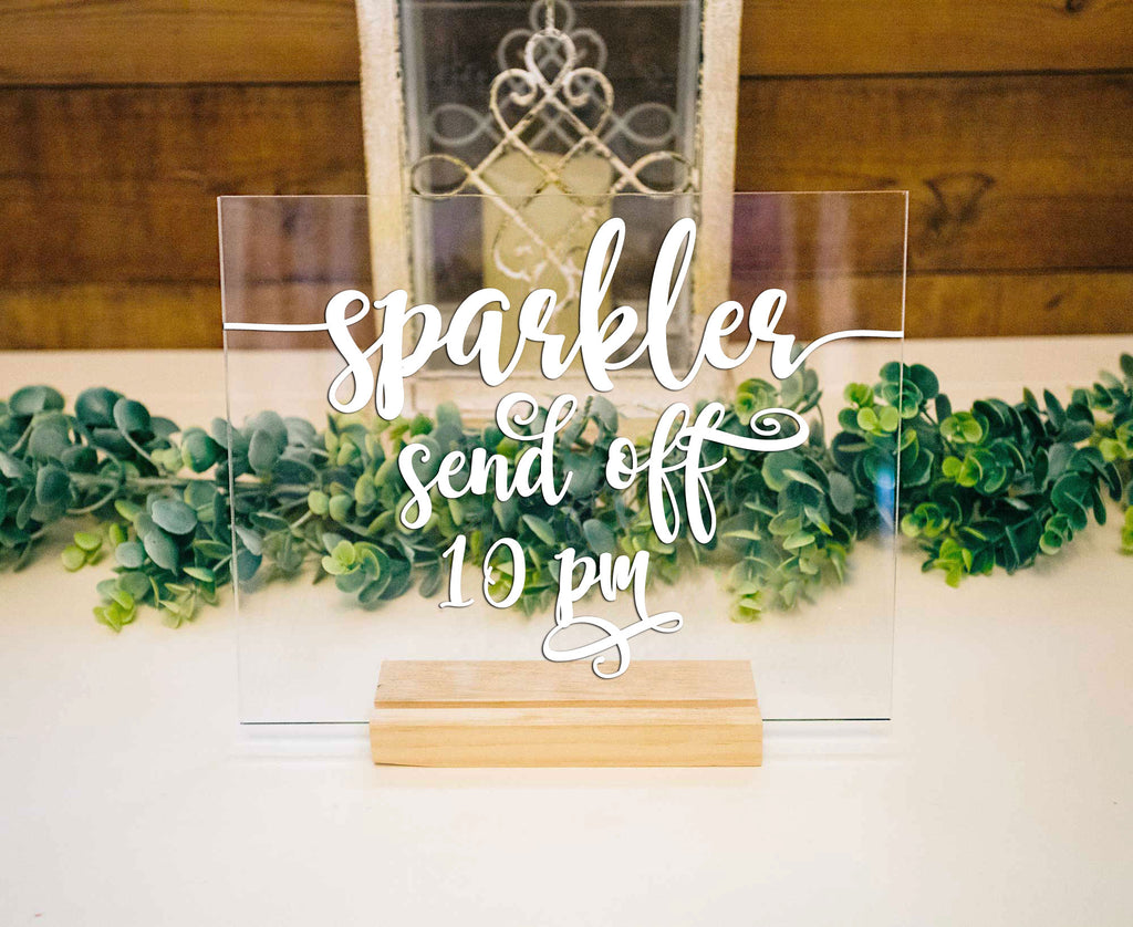 Sparkler Sign Clear Acrylic Sign for Wedding, Clear Acrylic Wedding Sign with Stand, Sparklers Sign for Party or Wedding