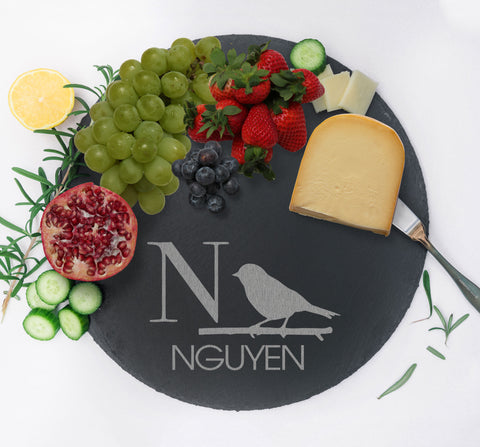 Personalized Charcuterie Board, Serving Tray, Slate Cheese Board, Gift for Home Kitchen Couples Gift, Monogram Cheese Tray