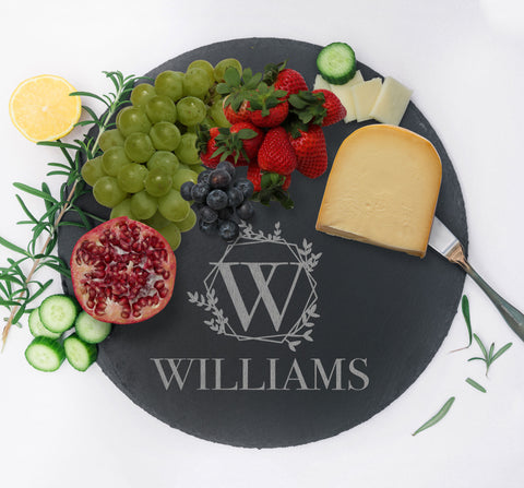 Custom Charcuterie Board, Serving Tray, Slate Cheese Board, Personalized Gift for Home Kitchen Couples Gift, Monogram Cheese Tray