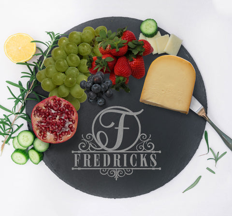 Custom Charcuterie Board, Serving Tray, Slate Cheese Board, Wedding Gift for Home Kitchen Couples Gift, Monogram Cheese Tray