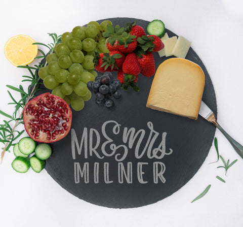 Custom Mr & Mrs Tray, Charcuterie Board, Slate Serving Tray, Wedding Gift for Home Kitchen Couples Gift, Monogram Cheese Tray