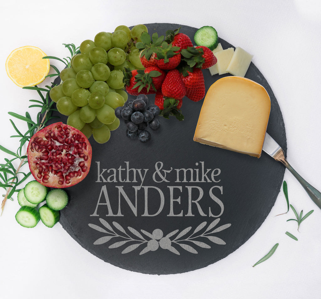Custom Serving Tray, Slate Charcuterie Board, Wedding Anniversary Gift for Home Kitchen, Gift for Couples Monogram Cheese Tray