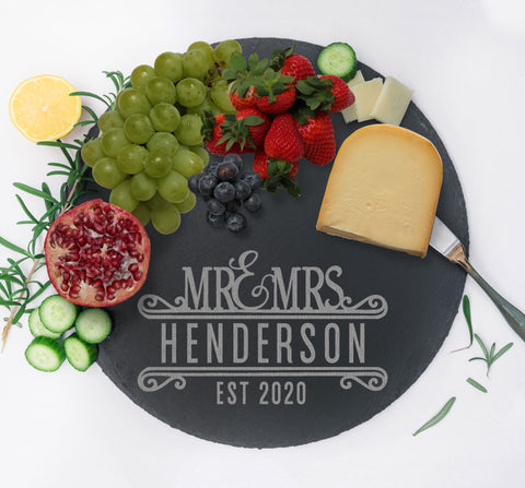 Couples Gift Custom Serving Tray, Slate Charcuterie Board, Anniversary Gift for Home Kitchen, Gift for Couples Monogram Cheese Tray