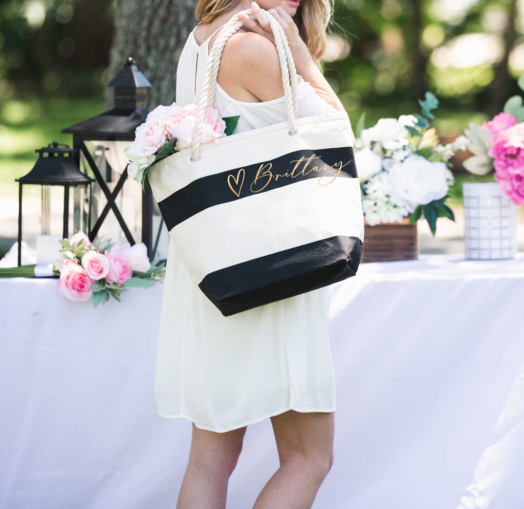 Beach Bag, Rose Gold Personalized Tote Bag with Name - Wedding Decor Gifts