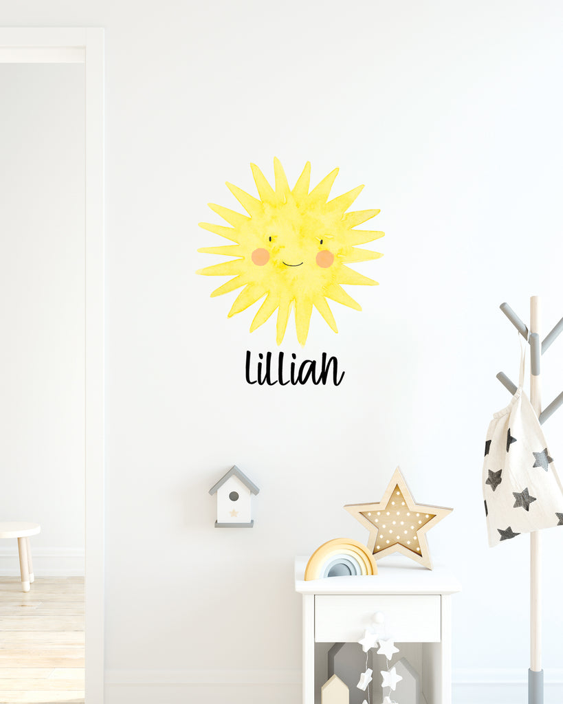Sun Name Decal for Nursery / Bedroom Kids or Baby Decor - Wedding Decor Gifts