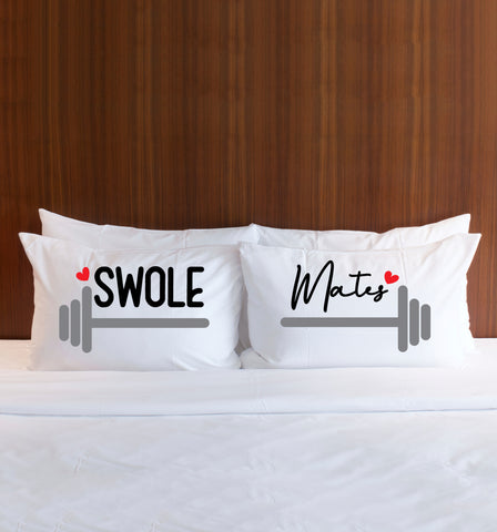Workout Couple Barbells Swole Mates Pillow Cases - Wedding Decor Gifts
