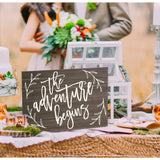 "Wedding Sign Painted Wooden Sign, ""The Adventure Begins"" - Wedding Decor Gifts"