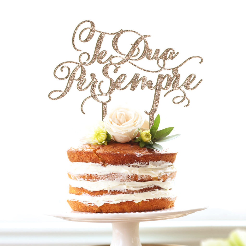"Wedding Cake Topper ""Te Dua Per Sempre"" - Wedding Decor Gifts"