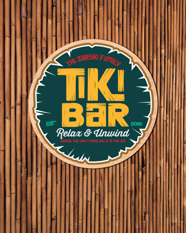 Tiki Bar Sign, Personlaized Family Sign for Tiki, Pool Sign