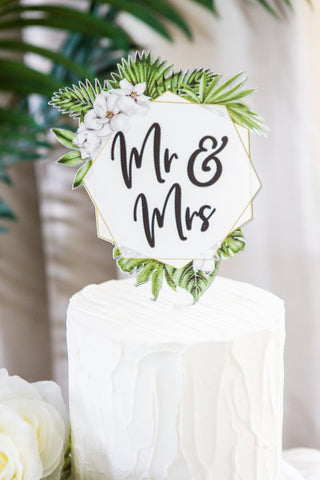 Tropical Wedding Cake Topper Floral Wreath - Wedding Decor Gifts