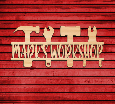 Workshop Sign, Garage Name Sign Wall Decor Personalized Name