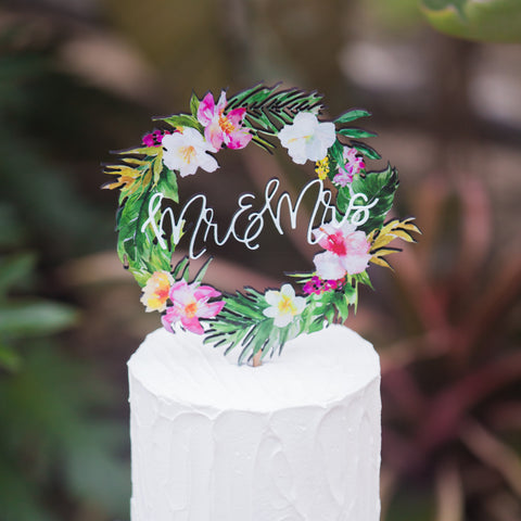 tropical wedding cake toppers monogram cake topper z create design 21280
