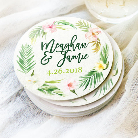 Tropical Wedding Coasters