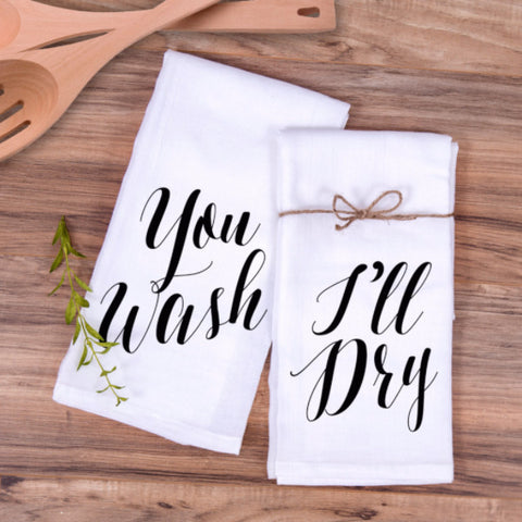 "Kitchen Towel Gift Set ""You Wash, I'll Dry"" - Wedding Decor Gifts"