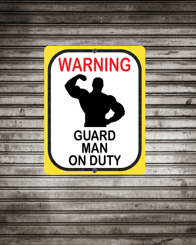 Warning Guard Bodybuilder Sign, Funny Gift for Bodybuilder