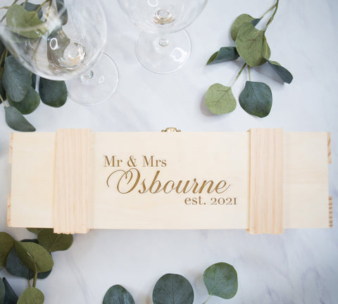 Couples Gift Wine Box Personalized Name