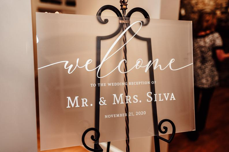 Wedding Welcome Sign Frosted Acrylic Elegant Wedding Sign for Wedding Signs, Welcome Sign Wedding Decor Sign Clear Acrylic