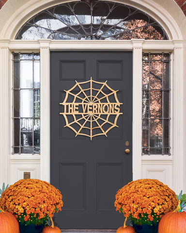 Halloween Door Sign, Wall Sign, Family Name Sign for Halloween, Spider Web Door Hanger, Personalized Sign for Halloween