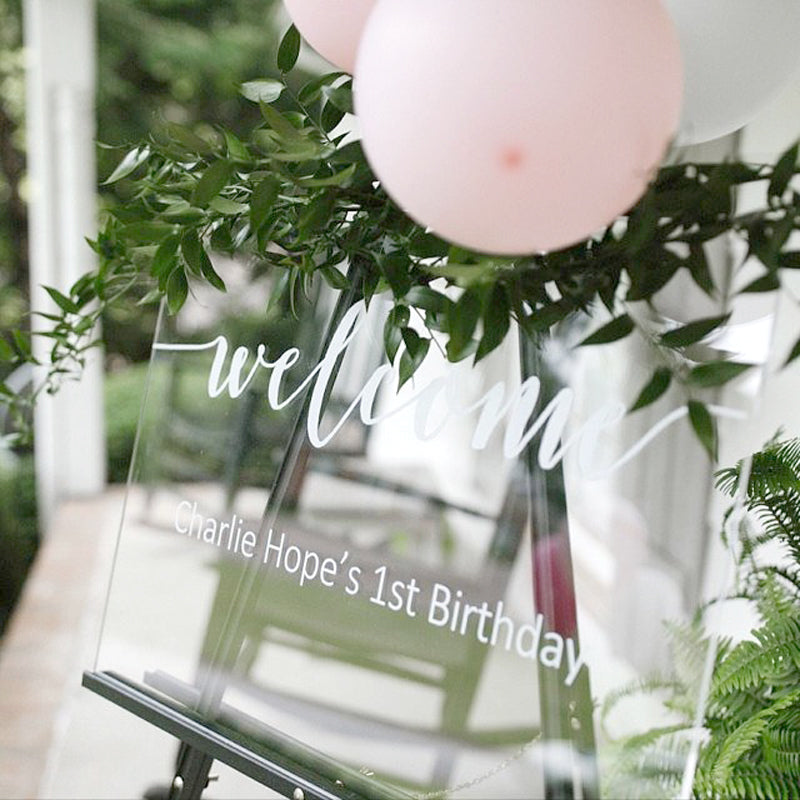 Welcome Birthday Clear Acrylic Sign