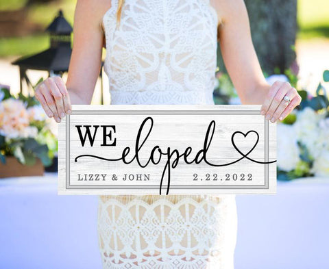 We Eloped Wooden Wedding Signs - Wedding Decor Gifts