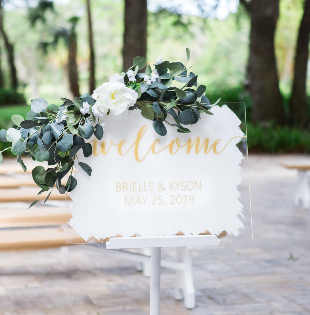 Painted Background Wedding Welcome Sign - Wedding Decor Gifts