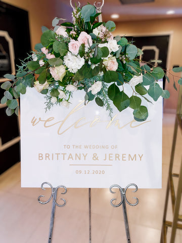 Wedding Welcome Sign White Acrylic Elegant Wedding Sign for Wedding Signs, Welcome Sign Wedding Decor Sign Gold and White