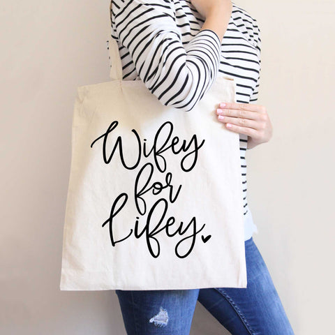 """Wifey for Lifey"" Tote Bag - Wedding Decor Gifts"