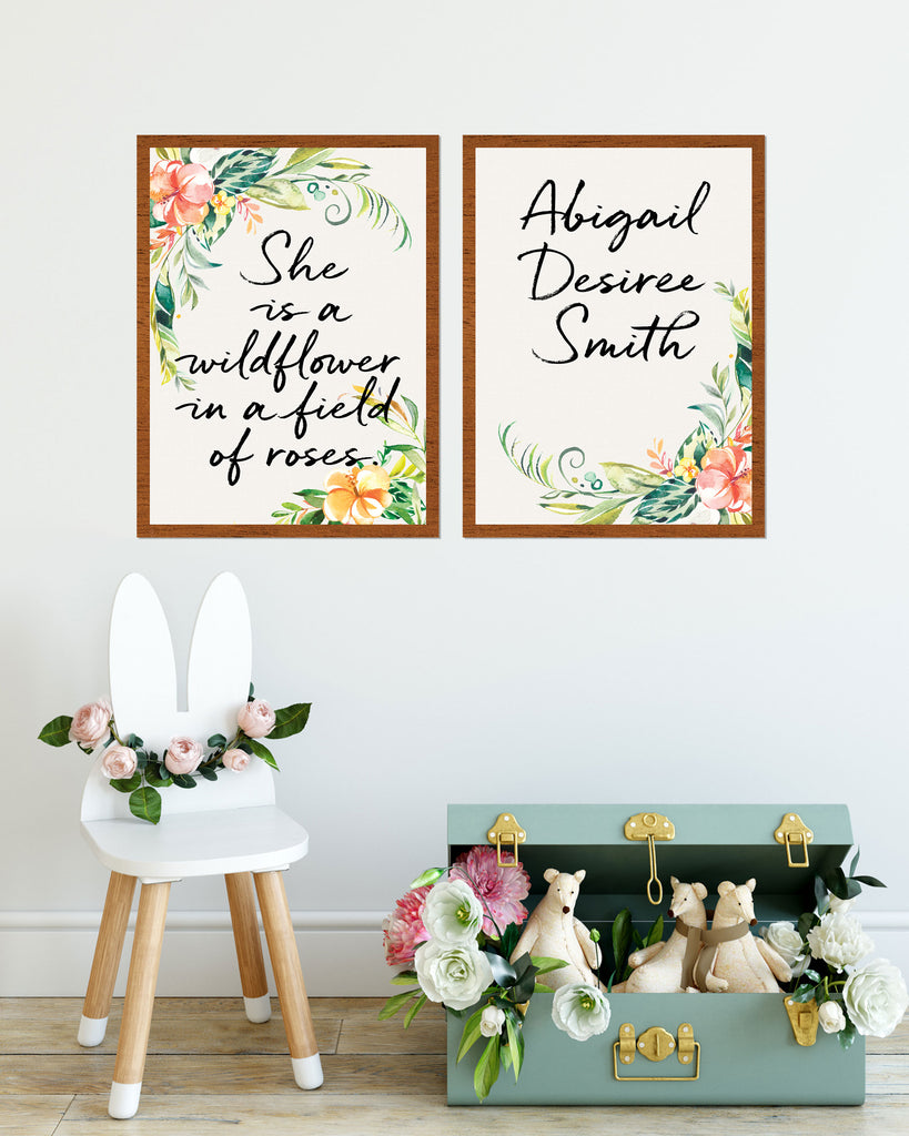 Girl's Bedroom Quote Prints for Wall, Custom Name Sign - Wedding Decor Gifts