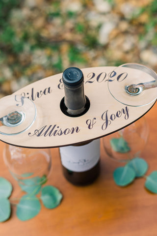 Wine Holder Gift, Personalized Wedding Gift Engagement Anniversary, Wine Caddy Holder Wood Names Est Date Gift for Couples