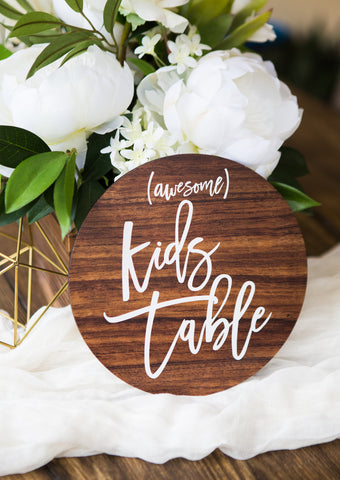 Kids Table Wedding Sign Wooden Style - Wedding Decor Gifts
