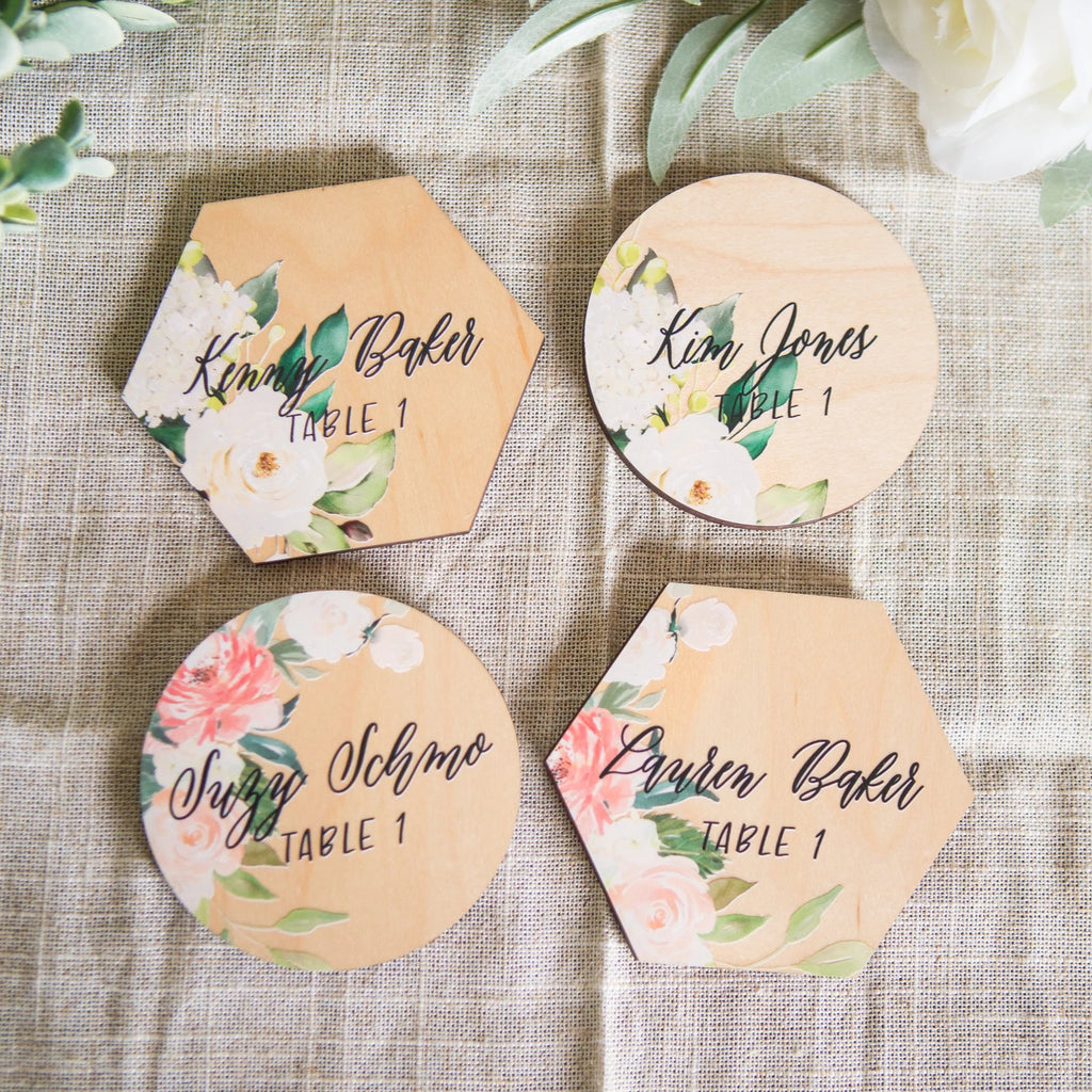 Wedding and Party Place Cards Floral Accent