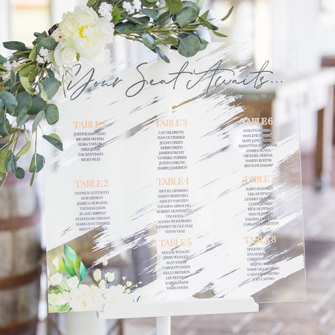 Wedding Seating Chart Painted Calligraphy Style